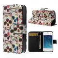 iPhone 4 / 4S Bőr-Szilikon Kártyatartó Tok Koponyák